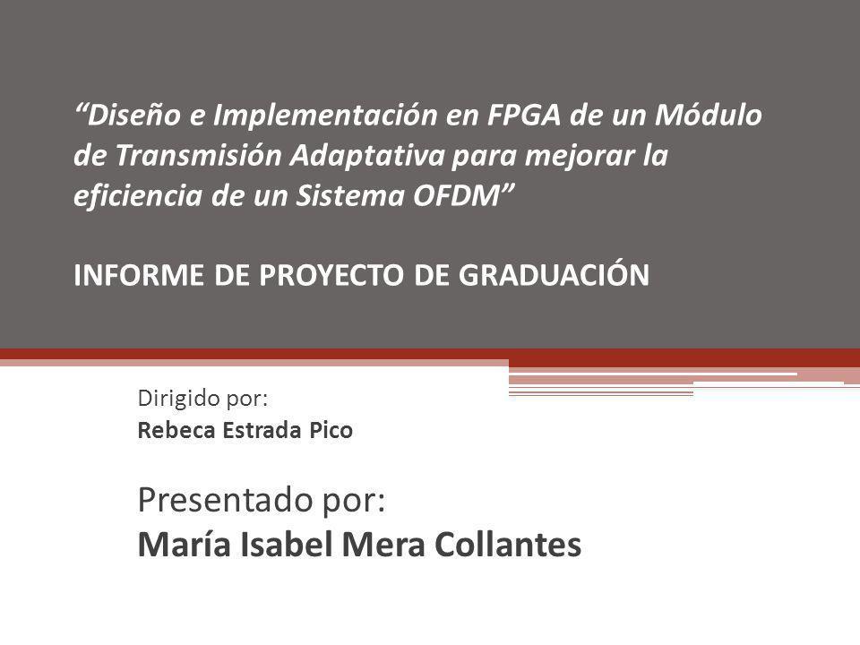 Diseño e Implementación en FPGA de un Módulo de Transmisión Adaptativa para mejorar la eficiencia de un Sistema OFDM INFORME DE PROYECTO DE GRADUACIÓN