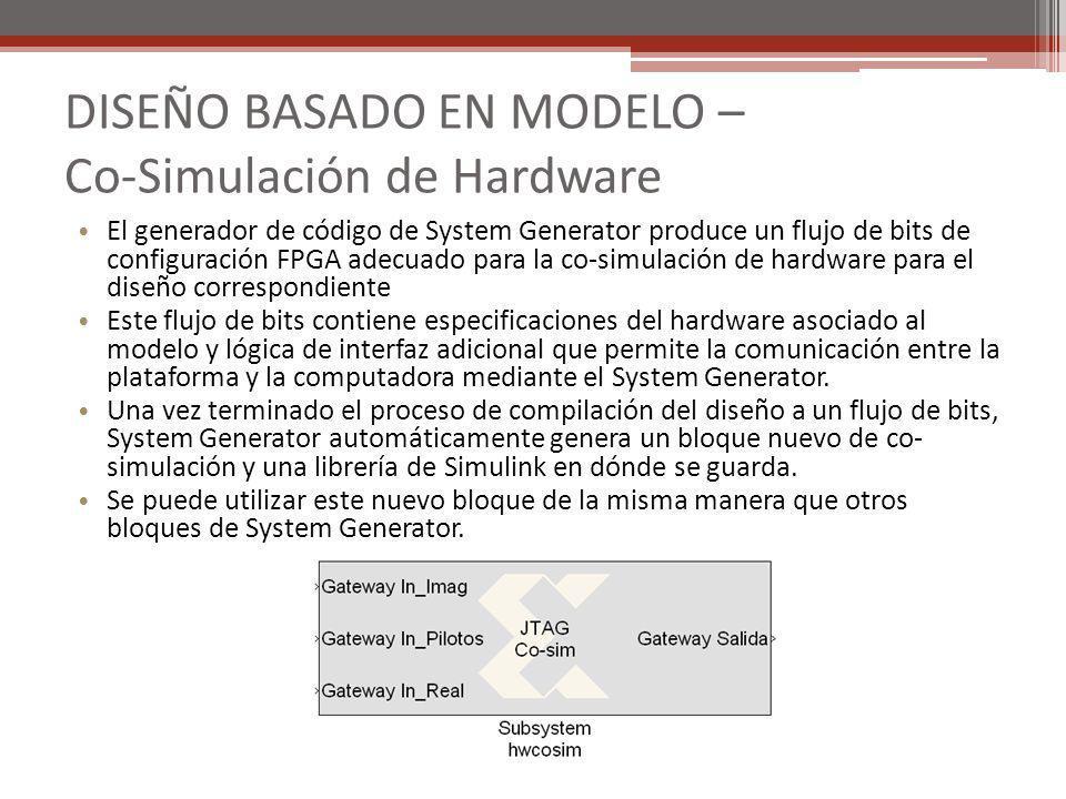 El generador de código de System Generator produce un flujo de bits de configuración FPGA adecuado para la co-simulación de hardware para el diseño co