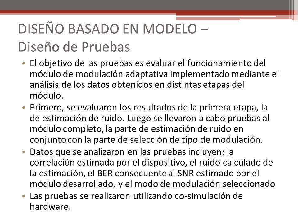 DISEÑO BASADO EN MODELO – Diseño de Pruebas El objetivo de las pruebas es evaluar el funcionamiento del módulo de modulación adaptativa implementado m
