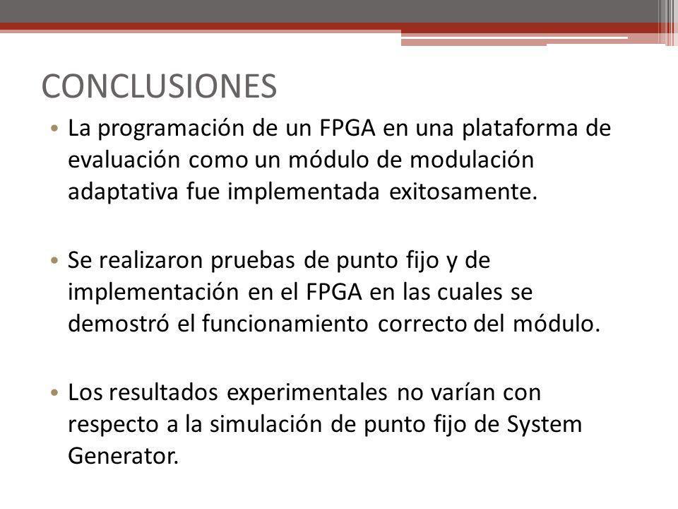 CONCLUSIONES La programación de un FPGA en una plataforma de evaluación como un módulo de modulación adaptativa fue implementada exitosamente. Se real