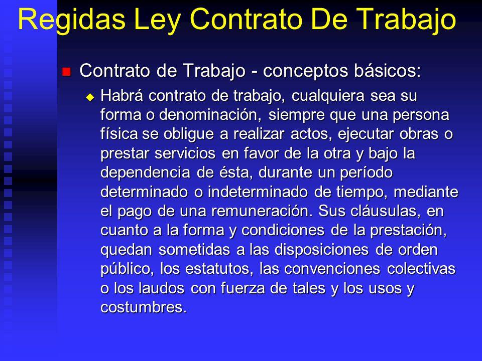 Regidas Ley Contrato De Trabajo Contrato de Trabajo - conceptos básicos: Contrato de Trabajo - conceptos básicos: Habrá contrato de trabajo, cualquier