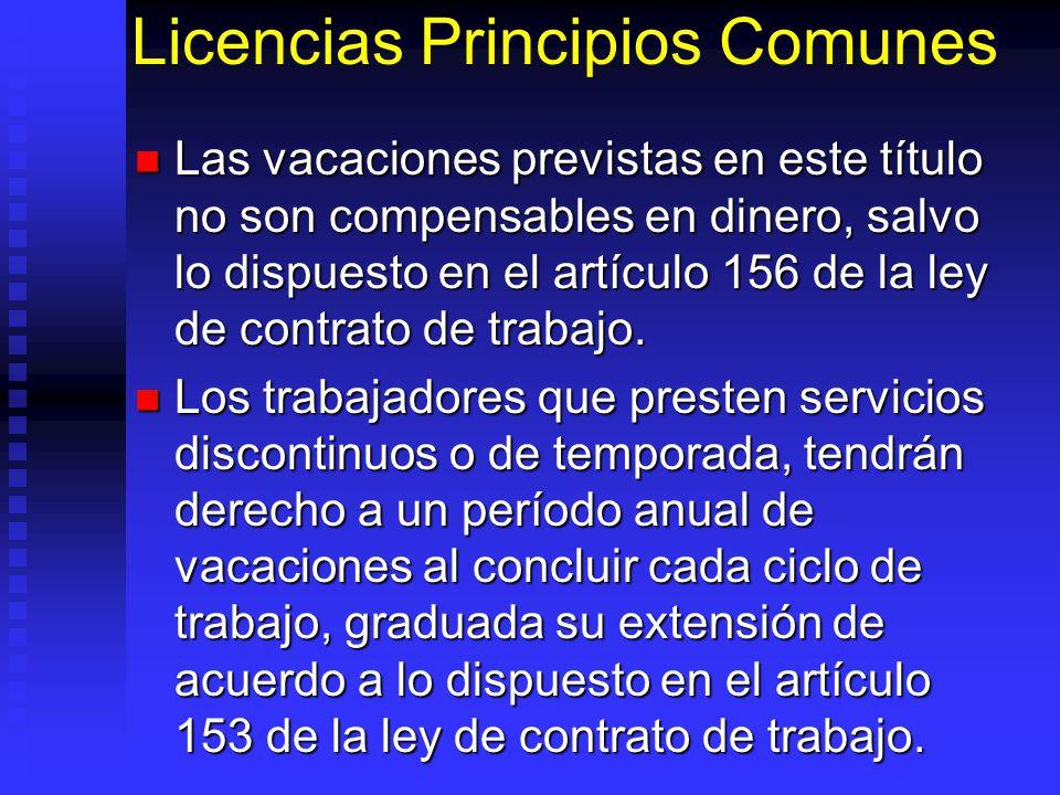Licencias Principios Comunes Las vacaciones previstas en este título no son compensables en dinero, salvo lo dispuesto en el artículo 156 de la ley de