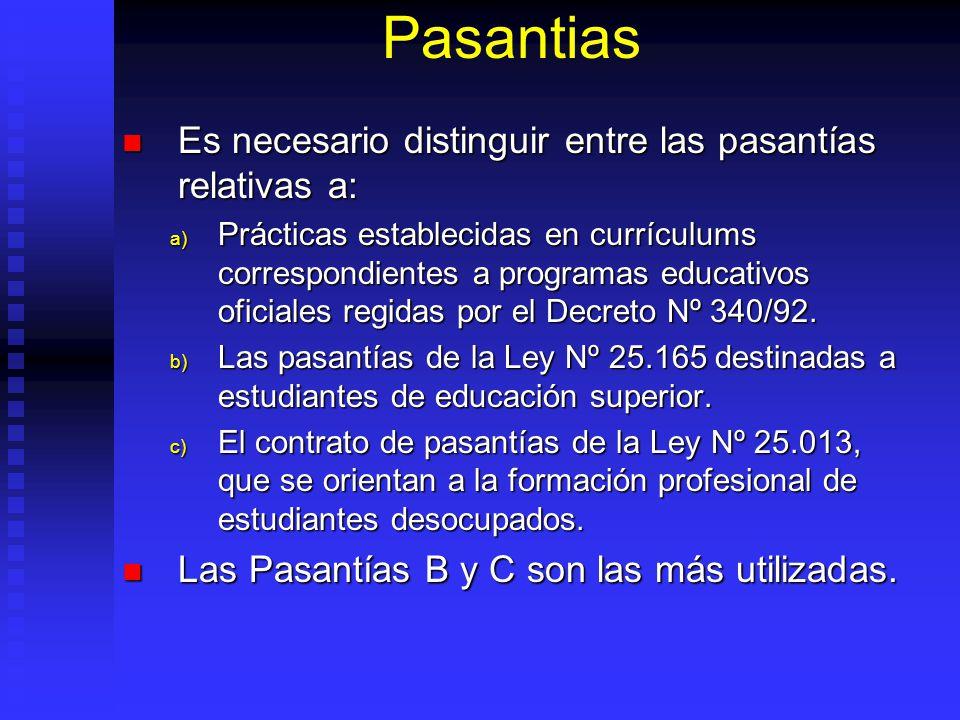 Pasantias Es necesario distinguir entre las pasantías relativas a: Es necesario distinguir entre las pasantías relativas a: a) Prácticas establecidas