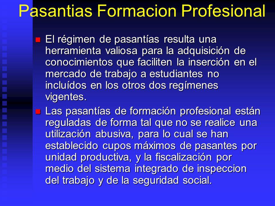 Pasantias Formacion Profesional El régimen de pasantías resulta una herramienta valiosa para la adquisición de conocimientos que faciliten la inserció