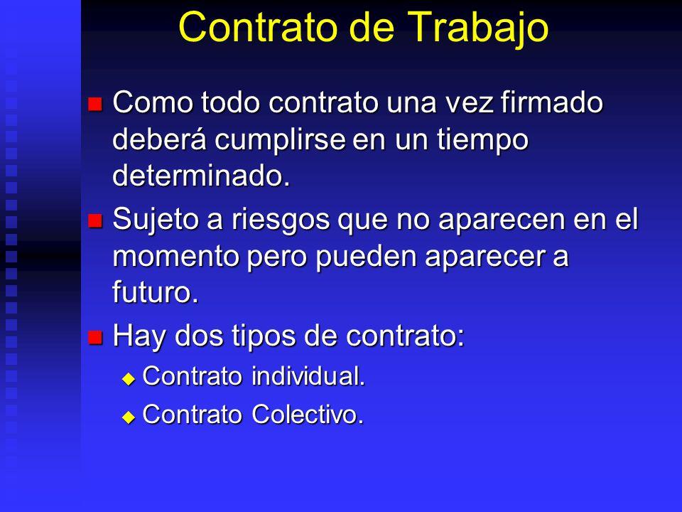 Contrato de Trabajo Como todo contrato una vez firmado deberá cumplirse en un tiempo determinado. Como todo contrato una vez firmado deberá cumplirse