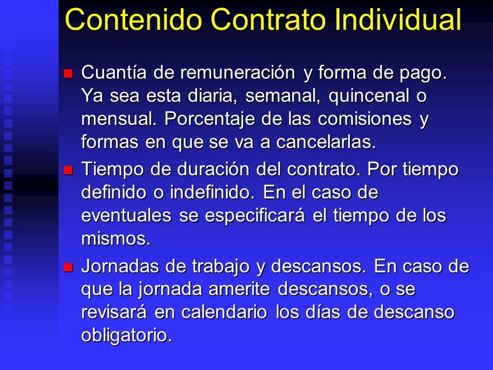 Contenido Contrato Individual Cuantía de remuneración y forma de pago. Ya sea esta diaria, semanal, quincenal o mensual. Porcentaje de las comisiones