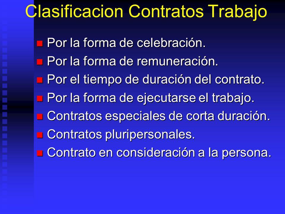 Clasificacion Contratos Trabajo Por la forma de celebración. Por la forma de celebración. Por la forma de remuneración. Por la forma de remuneración.
