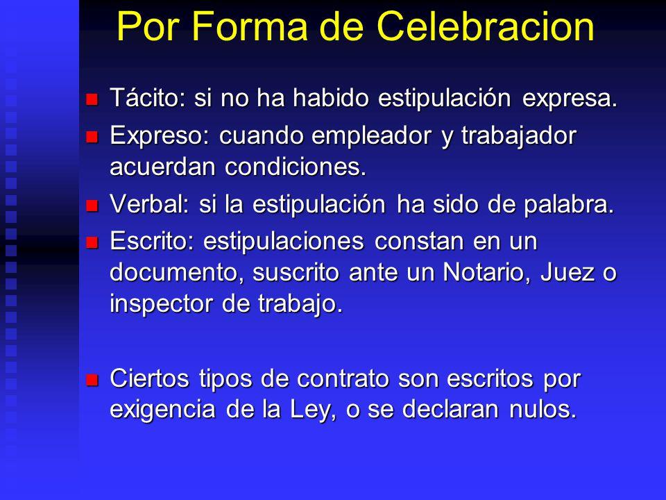 Por Forma de Celebracion Tácito: si no ha habido estipulación expresa. Tácito: si no ha habido estipulación expresa. Expreso: cuando empleador y traba