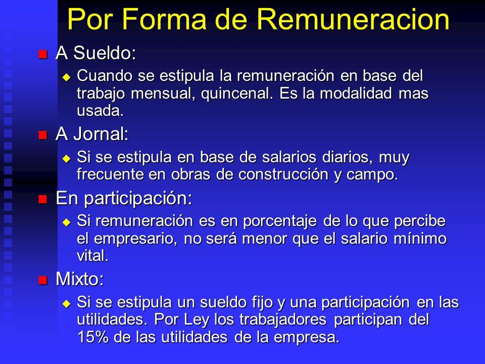 Por Forma de Remuneracion A Sueldo: A Sueldo: Cuando se estipula la remuneración en base del trabajo mensual, quincenal. Es la modalidad mas usada. Cu