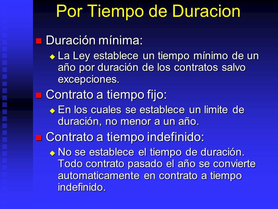 Por Tiempo de Duracion Duración mínima: Duración mínima: La Ley establece un tiempo mínimo de un año por duración de los contratos salvo excepciones.