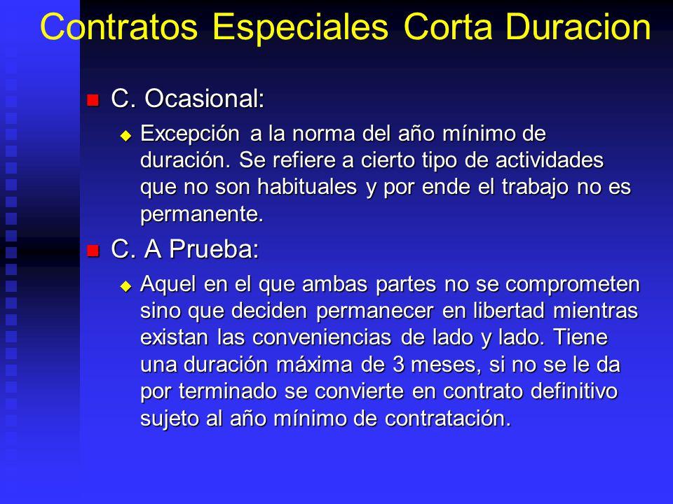 Contratos Especiales Corta Duracion C. Ocasional: C. Ocasional: Excepción a la norma del año mínimo de duración. Se refiere a cierto tipo de actividad