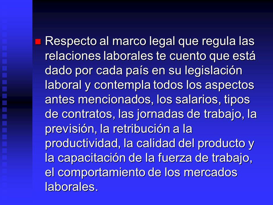 Respecto al marco legal que regula las relaciones laborales te cuento que está dado por cada país en su legislación laboral y contempla todos los aspe