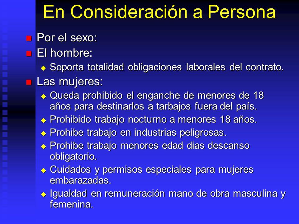 En Consideración a Persona Por el sexo: Por el sexo: El hombre: El hombre: Soporta totalidad obligaciones laborales del contrato. Soporta totalidad ob