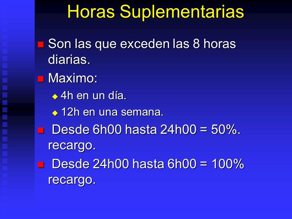 Horas Suplementarias Son las que exceden las 8 horas diarias. Son las que exceden las 8 horas diarias. Maximo: Maximo: 4h en un día. 4h en un día. 12h