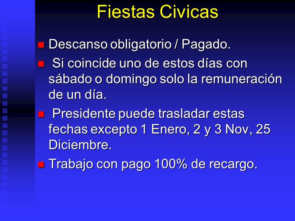 Fiestas Civicas Descanso obligatorio / Pagado. Descanso obligatorio / Pagado. Si coincide uno de estos días con sábado o domingo solo la remuneración