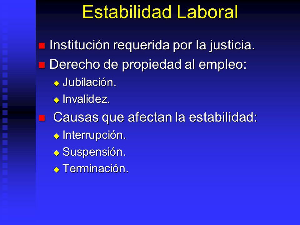 Estabilidad Laboral Institución requerida por la justicia. Institución requerida por la justicia. Derecho de propiedad al empleo: Derecho de propiedad