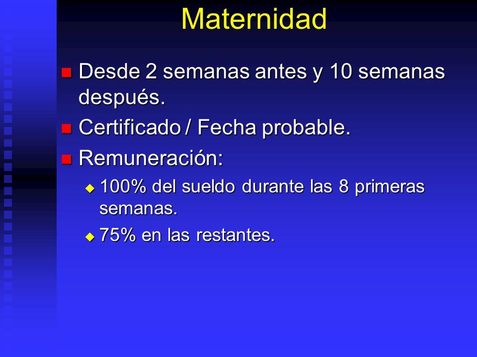Maternidad Desde 2 semanas antes y 10 semanas después. Desde 2 semanas antes y 10 semanas después. Certificado / Fecha probable. Certificado / Fecha p