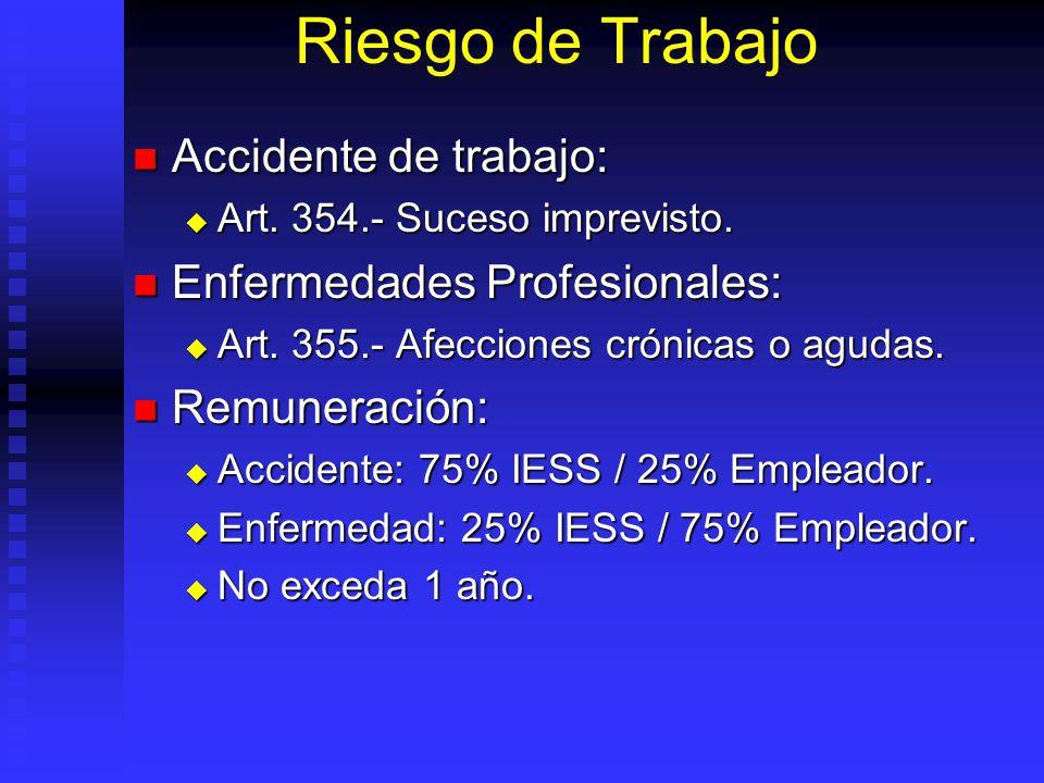Riesgo de Trabajo Accidente de trabajo: Accidente de trabajo: Art. 354.- Suceso imprevisto. Art. 354.- Suceso imprevisto. Enfermedades Profesionales: