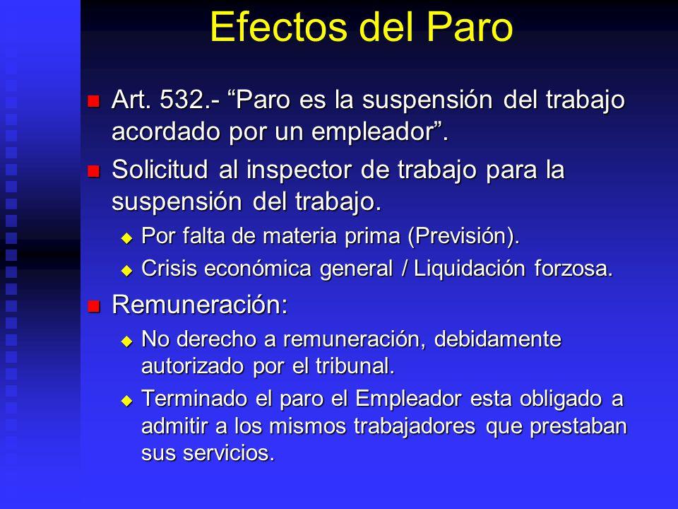 Efectos del Paro Art. 532.- Paro es la suspensión del trabajo acordado por un empleador. Art. 532.- Paro es la suspensión del trabajo acordado por un