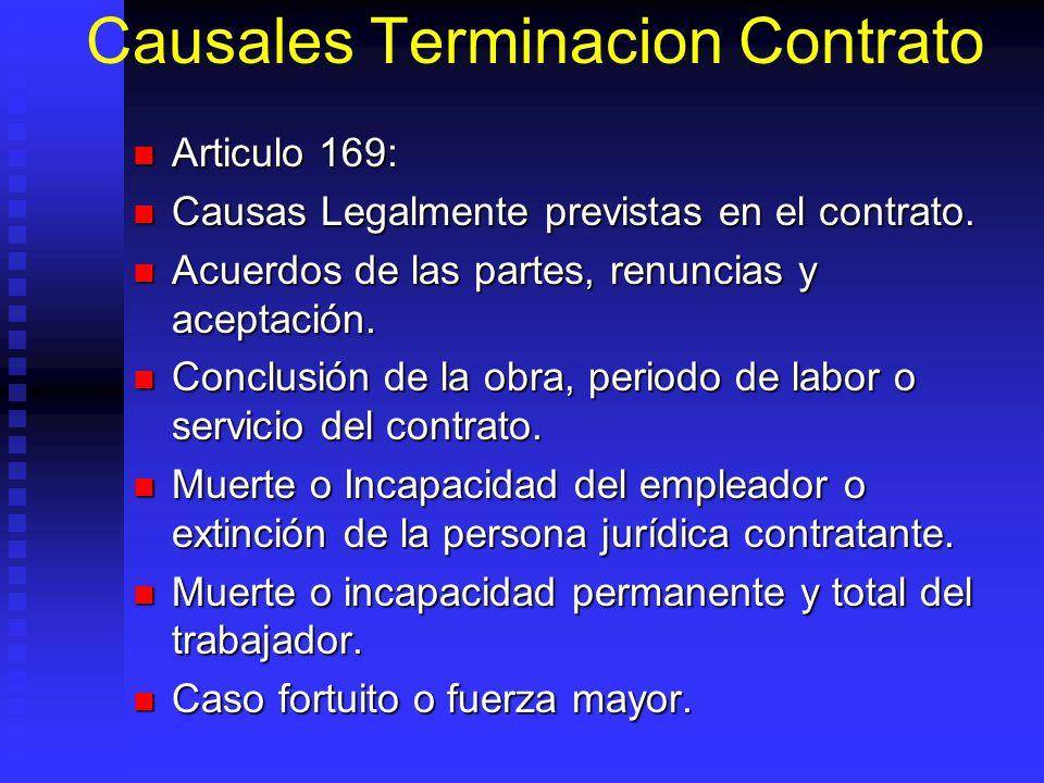 Causales Terminacion Contrato Articulo 169: Articulo 169: Causas Legalmente previstas en el contrato. Causas Legalmente previstas en el contrato. Acue