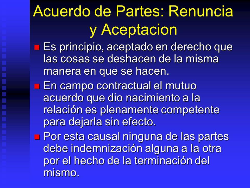 Acuerdo de Partes: Renuncia y Aceptacion Es principio, aceptado en derecho que las cosas se deshacen de la misma manera en que se hacen. Es principio,