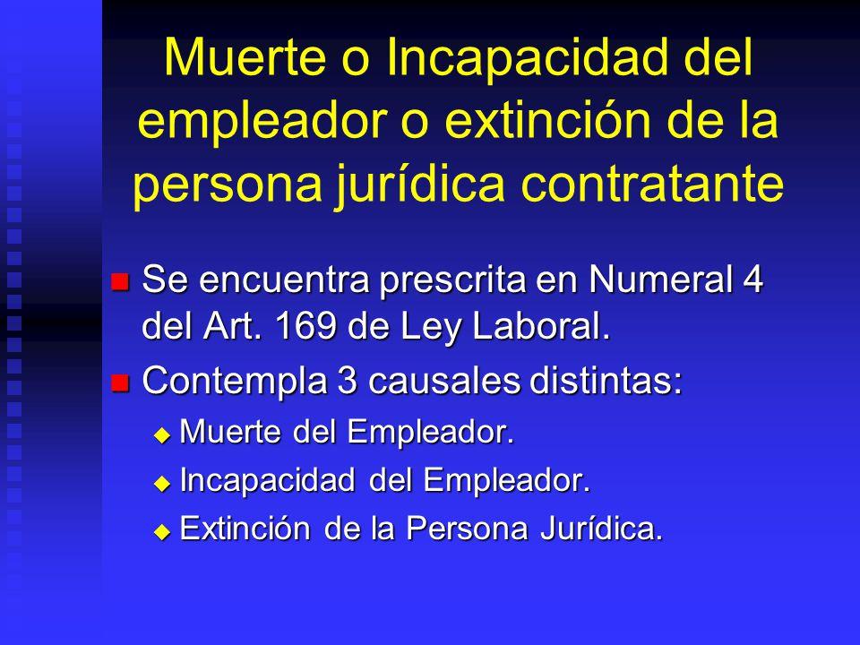 Muerte o Incapacidad del empleador o extinción de la persona jurídica contratante Se encuentra prescrita en Numeral 4 del Art. 169 de Ley Laboral. Se