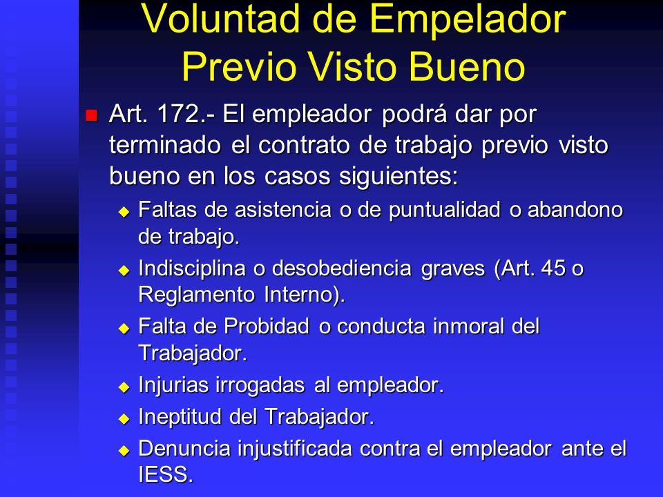 Voluntad de Empelador Previo Visto Bueno Art. 172.- El empleador podrá dar por terminado el contrato de trabajo previo visto bueno en los casos siguie