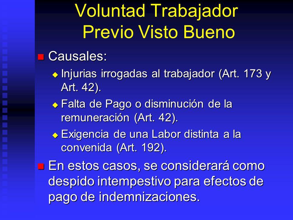 Voluntad Trabajador Previo Visto Bueno Causales: Causales: Injurias irrogadas al trabajador (Art. 173 y Art. 42). Injurias irrogadas al trabajador (Ar