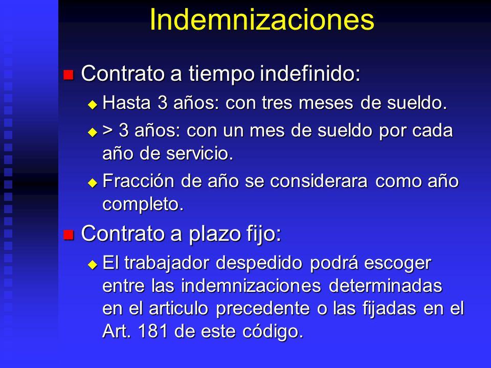 Indemnizaciones Contrato a tiempo indefinido: Contrato a tiempo indefinido: Hasta 3 años: con tres meses de sueldo. Hasta 3 años: con tres meses de su
