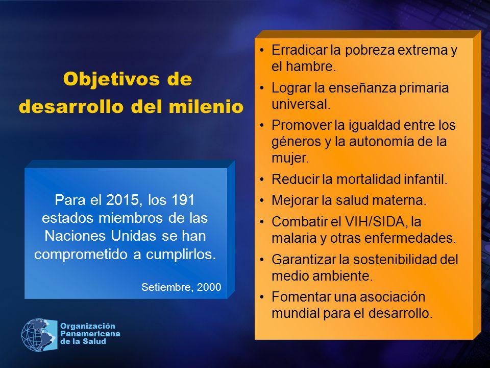 Organización Panamericana de la Salud Para el 2015, los 191 estados miembros de las Naciones Unidas se han comprometido a cumplirlos. Setiembre, 2000