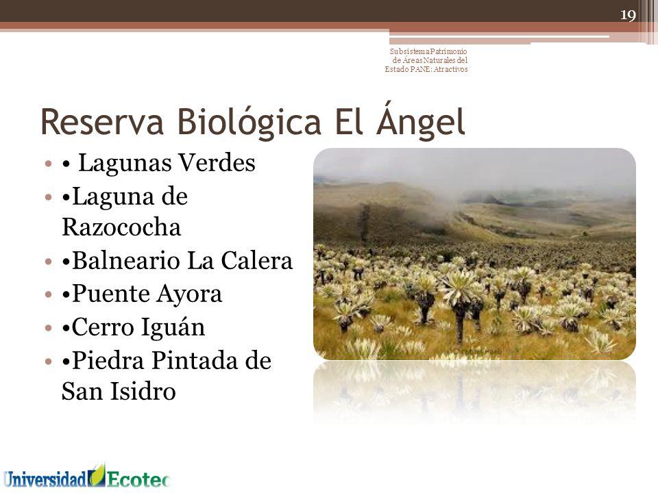 Reserva Biológica El Ángel Lagunas Verdes Laguna de Razococha Balneario La Calera Puente Ayora Cerro Iguán Piedra Pintada de San Isidro 19 Subsistema