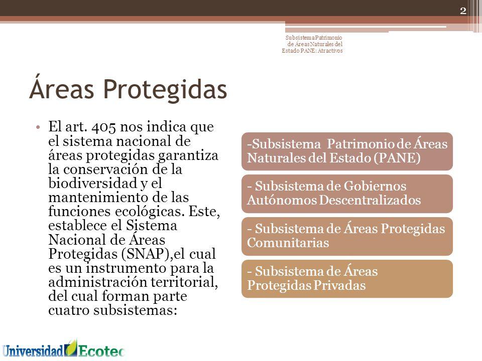 Áreas Protegidas El art. 405 nos indica que el sistema nacional de áreas protegidas garantiza la conservación de la biodiversidad y el mantenimiento d
