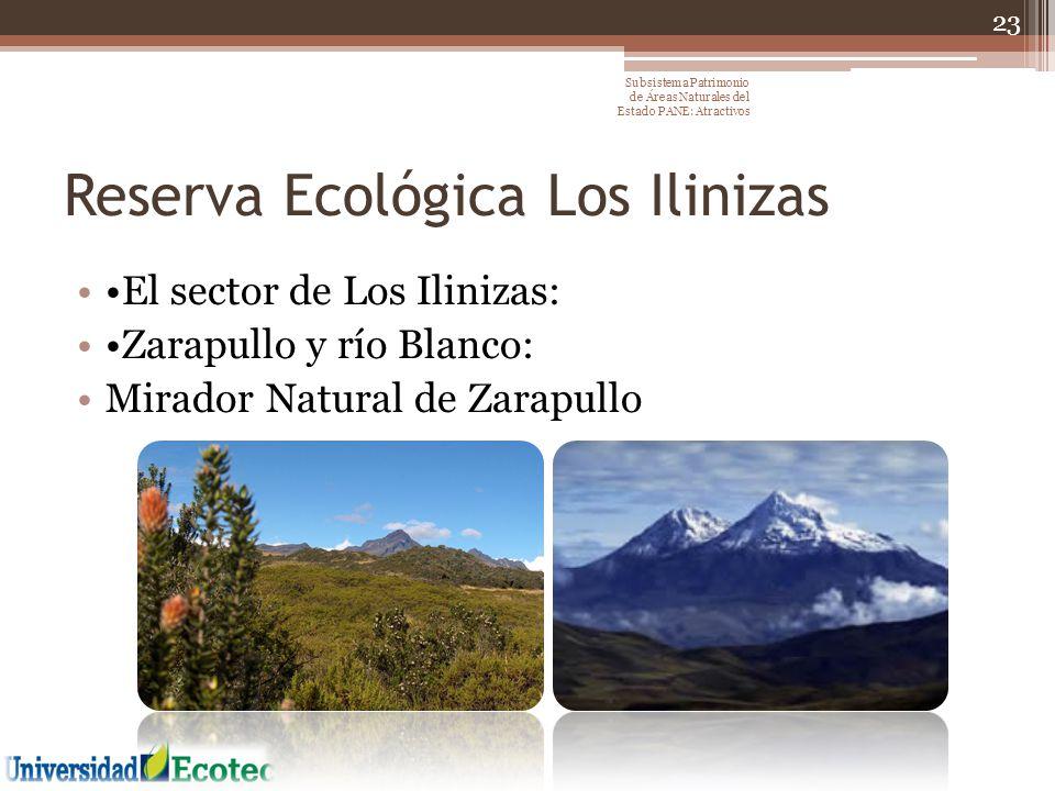 Reserva Ecológica Los Ilinizas El sector de Los Ilinizas: Zarapullo y río Blanco: Mirador Natural de Zarapullo 23 Subsistema Patrimonio de Áreas Natur