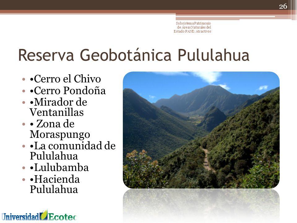 Reserva Geobotánica Pululahua Cerro el Chivo Cerro Pondoña Mirador de Ventanillas Zona de Moraspungo La comunidad de Pululahua Lulubamba Hacienda Pulu