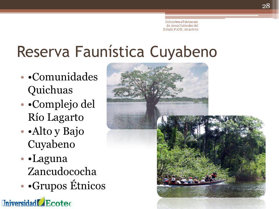 Reserva Faunística Cuyabeno Comunidades Quichuas Complejo del Río Lagarto Alto y Bajo Cuyabeno Laguna Zancudococha Grupos Étnicos 28 Subsistema Patrim
