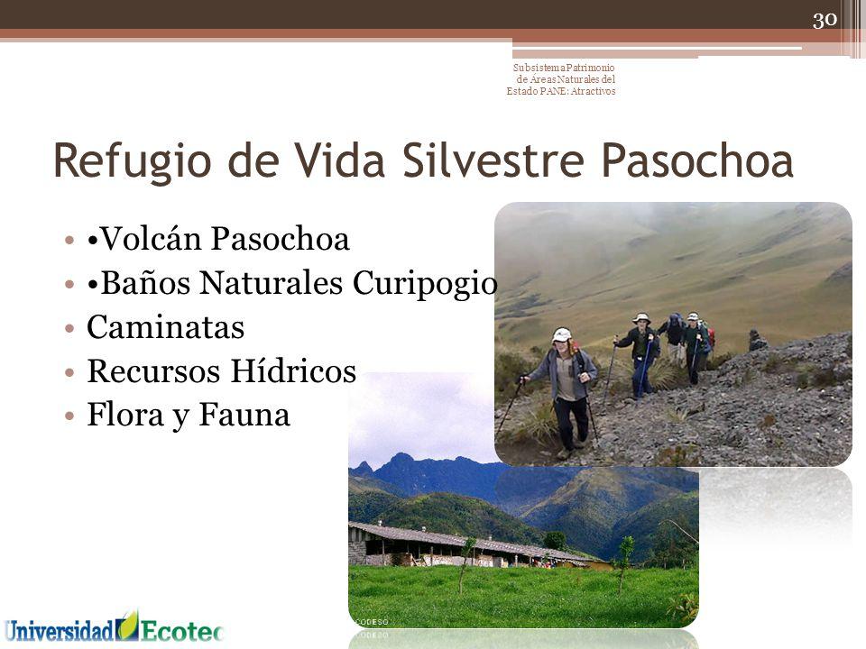 Refugio de Vida Silvestre Pasochoa Volcán Pasochoa Baños Naturales Curipogio Caminatas Recursos Hídricos Flora y Fauna 30 Subsistema Patrimonio de Áre
