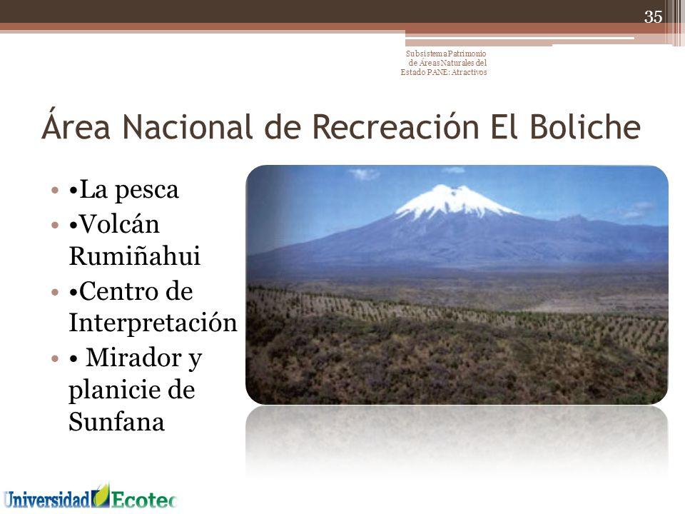 Área Nacional de Recreación El Boliche La pesca Volcán Rumiñahui Centro de Interpretación Mirador y planicie de Sunfana 35 Subsistema Patrimonio de Ár