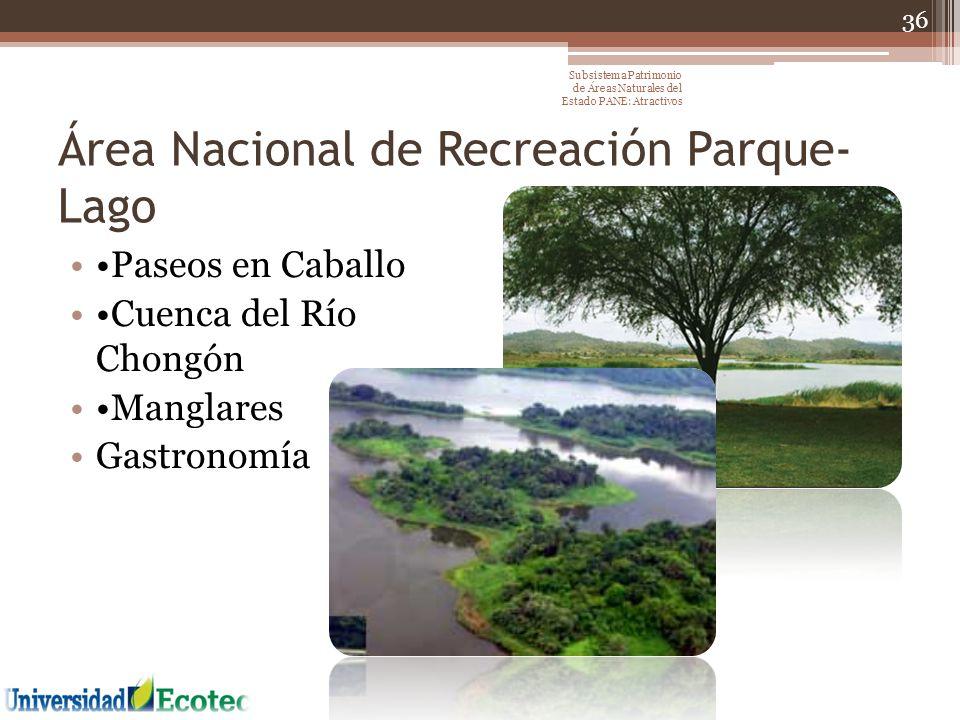 Área Nacional de Recreación Parque- Lago Paseos en Caballo Cuenca del Río Chongón Manglares Gastronomía 36 Subsistema Patrimonio de Áreas Naturales de