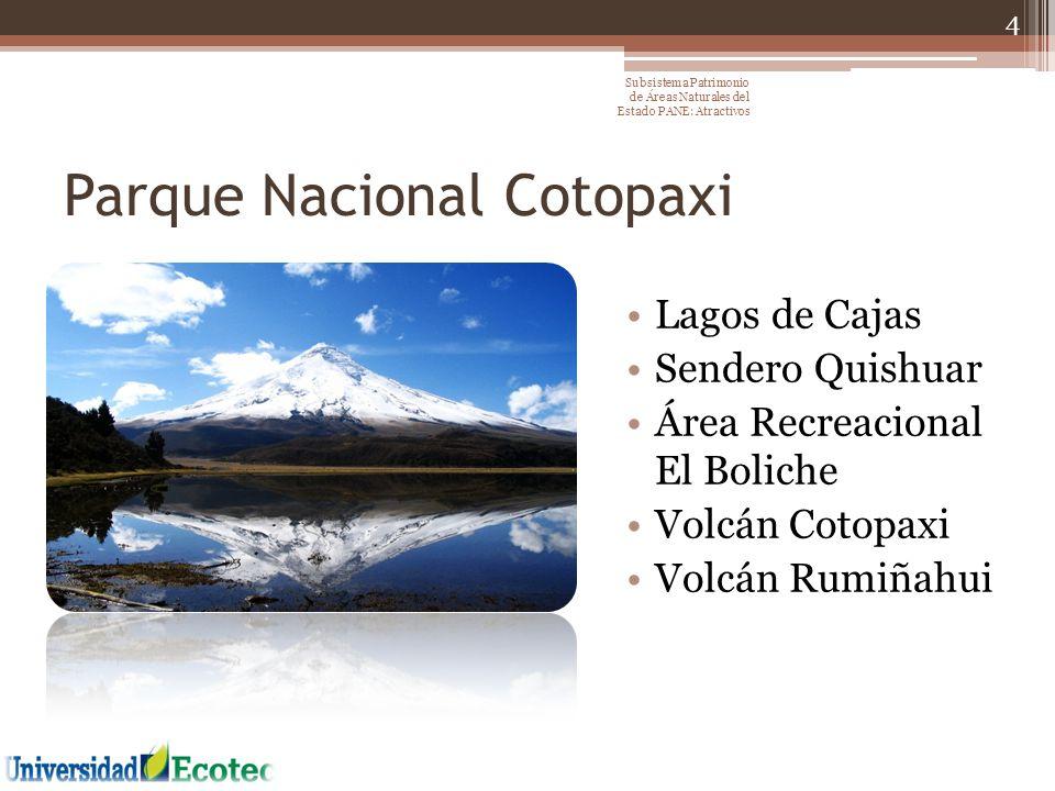 Parque Nacional Cotopaxi Lagos de Cajas Sendero Quishuar Área Recreacional El Boliche Volcán Cotopaxi Volcán Rumiñahui 4 Subsistema Patrimonio de Área