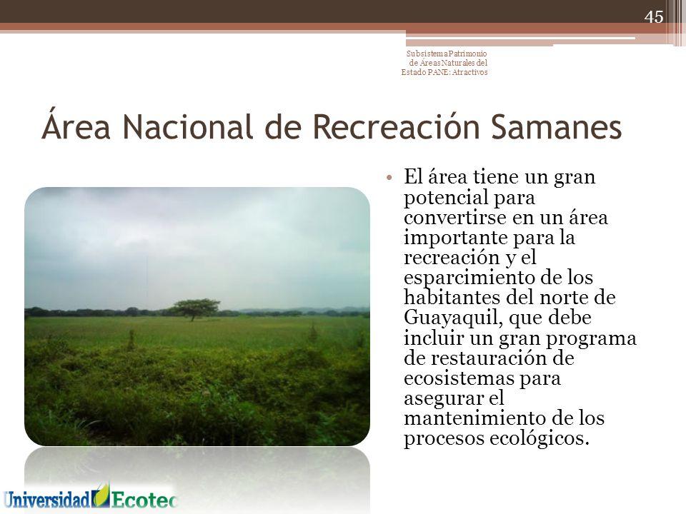 Área Nacional de Recreación Samanes El área tiene un gran potencial para convertirse en un área importante para la recreación y el esparcimiento de lo