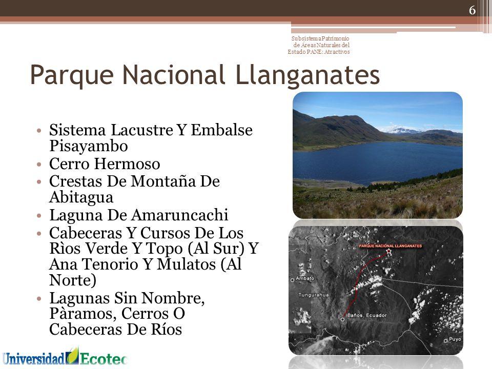 Reserva Biológica Antisana Flujo de lava de Antisanilla Cordillera de Guacamayos Barrancos o farallones de El Isco Cavernas de Jumandy Bosque Protector Sierra Azul Volcán Antisana 17 Subsistema Patrimonio de Áreas Naturales del Estado PANE: Atractivos