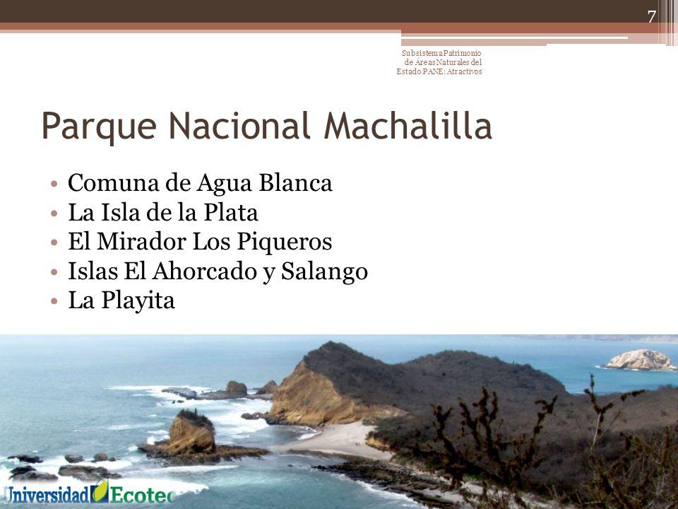 Parque Nacional Machalilla Comuna de Agua Blanca La Isla de la Plata El Mirador Los Piqueros Islas El Ahorcado y Salango La Playita 7 Subsistema Patri