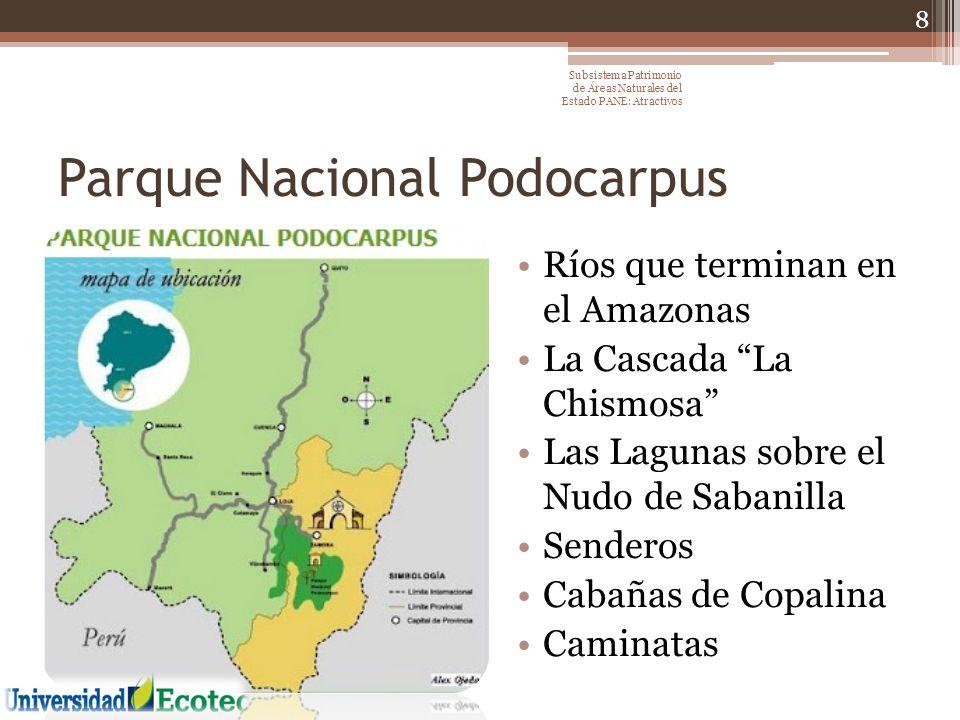 El volcán Tungurahua El Valle de Collanes El Volcán El Altar Lagunas de El Altar La Laguna Negra y las Aguas Termales de El Placer El Volcán Sangay Lagunas de Atillo ó Colay Lagunas de Osogoche El Pailón Parque Nacional Sangay 9 Subsistema Patrimonio de Áreas Naturales del Estado PANE: Atractivos