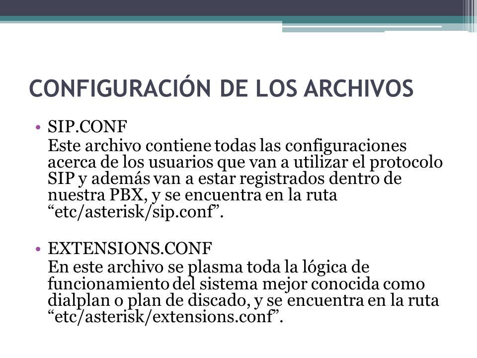 CONFIGURACIÓN DE LOS ARCHIVOS SIP.CONF Este archivo contiene todas las configuraciones acerca de los usuarios que van a utilizar el protocolo SIP y ad