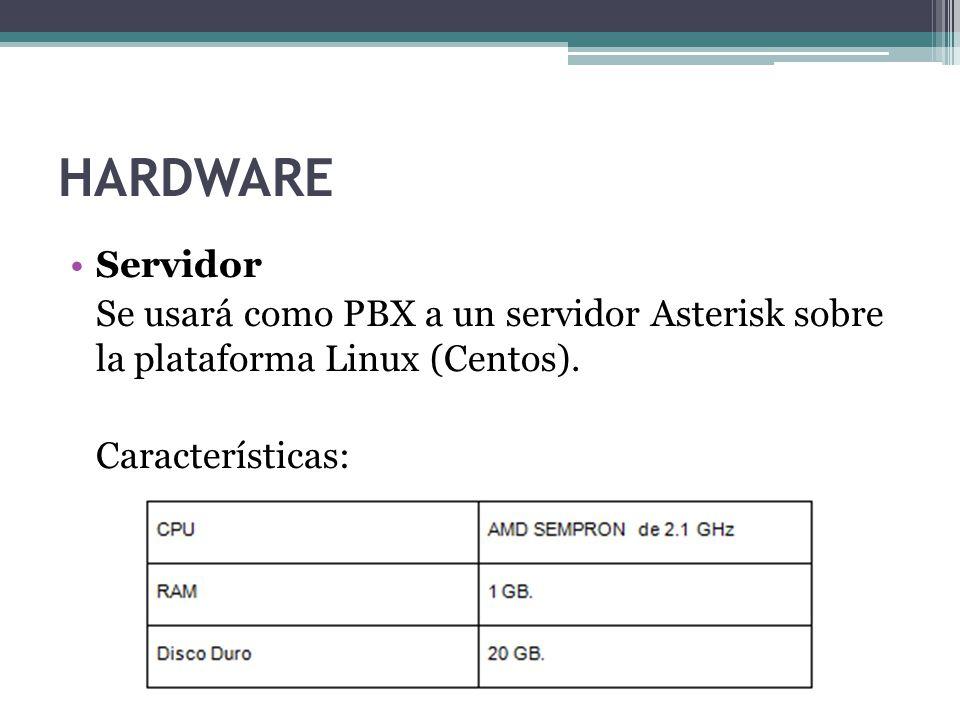 HARDWARE Servidor Se usará como PBX a un servidor Asterisk sobre la plataforma Linux (Centos). Características: