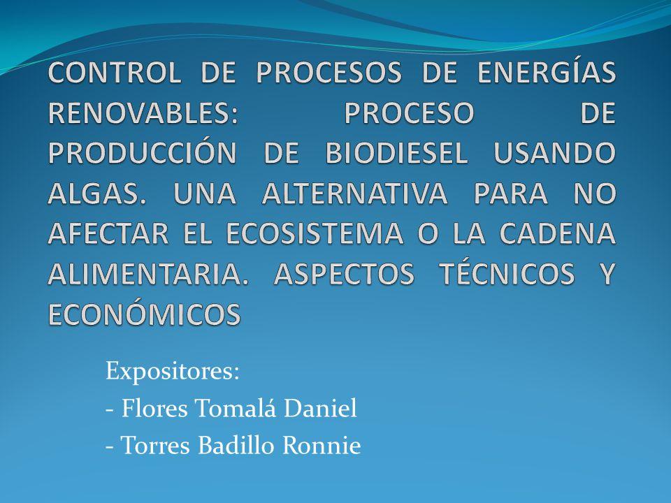 Descripción del Proyecto El presente proyecto tiene como objetivo principal realizar un estudio de proceso de producción de biodiesel usando algas marinas.