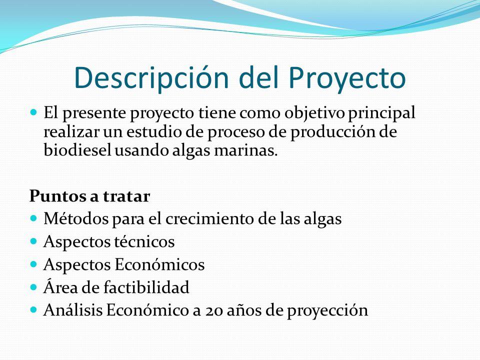 Descripción del Proyecto El presente proyecto tiene como objetivo principal realizar un estudio de proceso de producción de biodiesel usando algas mar