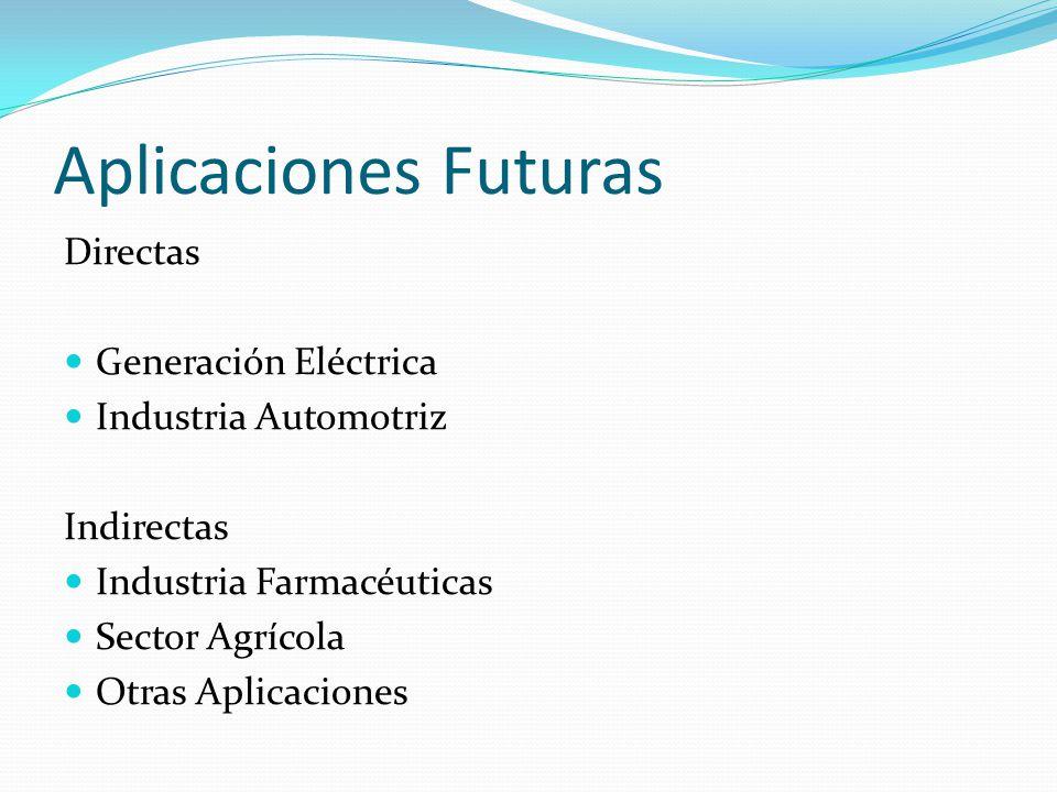 Aplicaciones Futuras Directas Generación Eléctrica Industria Automotriz Indirectas Industria Farmacéuticas Sector Agrícola Otras Aplicaciones
