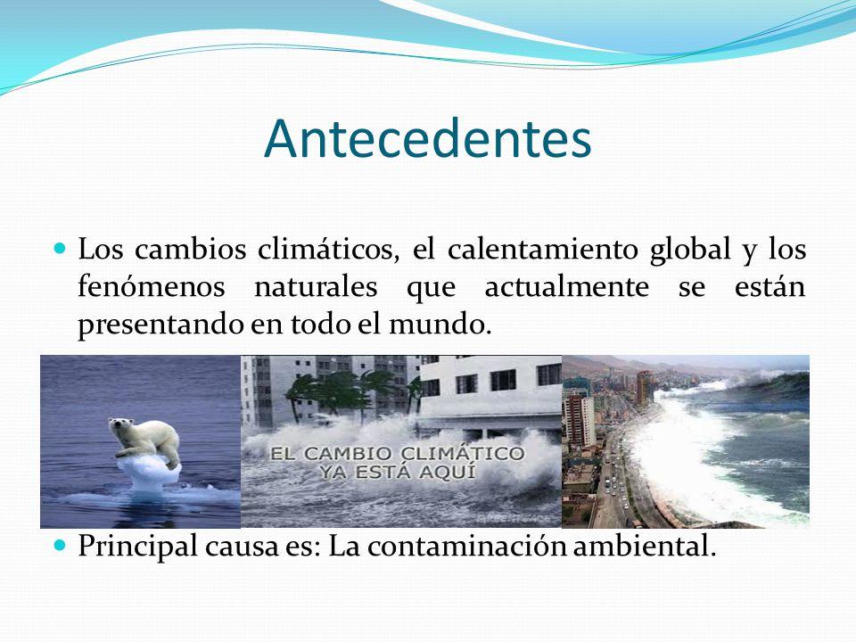Antecedentes Los cambios climáticos, el calentamiento global y los fenómenos naturales que actualmente se están presentando en todo el mundo. Principa