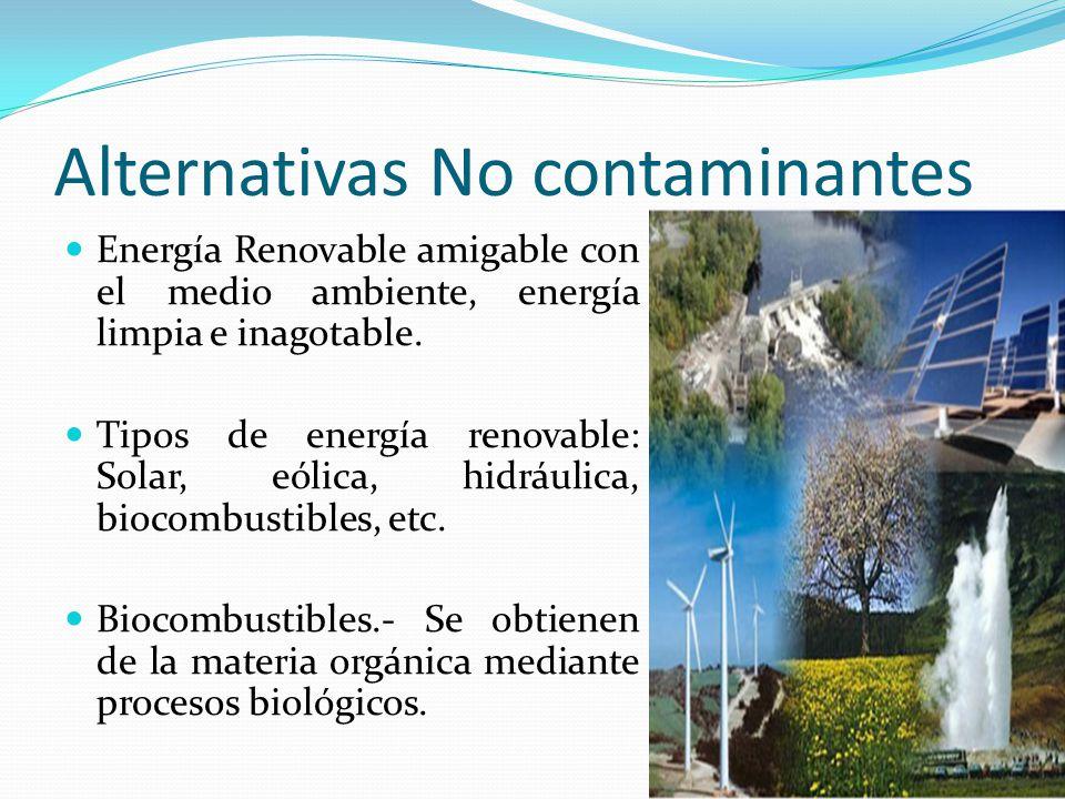 Alternativas No contaminantes Energía Renovable amigable con el medio ambiente, energía limpia e inagotable. Tipos de energía renovable: Solar, eólica